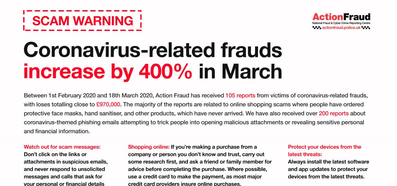 Online Safety Advice Issued In Response To 400 Increase In Coronavirus Scams Neighbourhood Watch Network